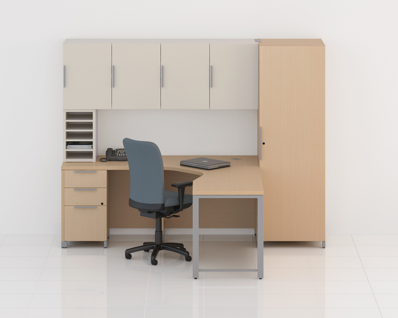 Quad Corner Desk with Overhead Storage and Wardrobe Cabinet & QuadLacasse Office Furniture