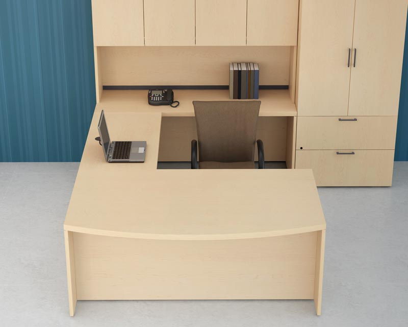 Top Down View Bow Front Executive U Desk